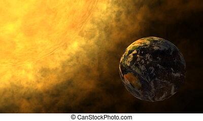 Earth and glowing Sun