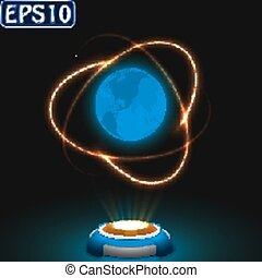 earth and golden satellite trail effect.(atom model)