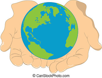 An image of the earth, being held in the hands of a human being.