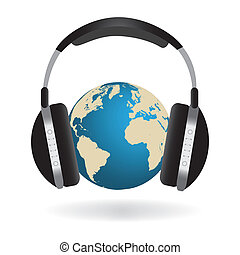 Earth and Headphones Image