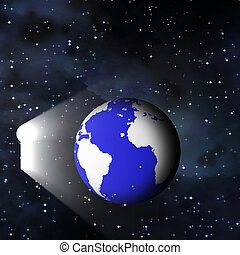 Earth and keyhole in space