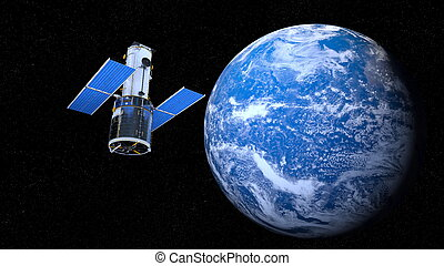 Earth and man-made satellite - 3D CG rendering of the earth...