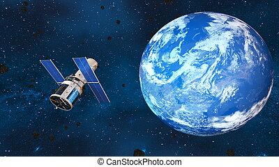 Earth and man-made satellite