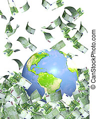 Earth and money - Earth and falling euro banknotes. Isolated...