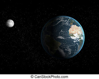 earth and moon - 3d rendered illustration of the earth and...