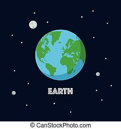 Earth and moon on space background