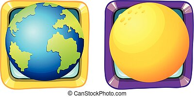 Earth and moon on square badges