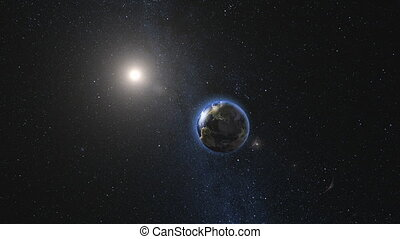 Earth and Moon rotating and approach in open space