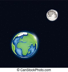 Earth and moon system in space.