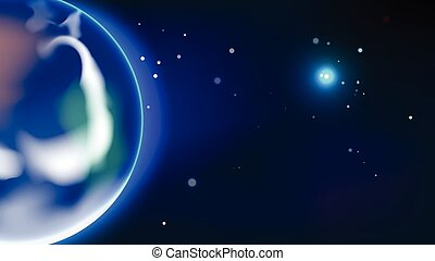 Earth and new planet of universe vector background