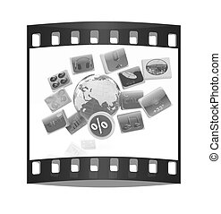 Earth and percent with cloud of media application Icons. The film strip