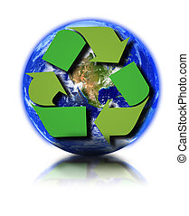 Earth globe and recycle symbol against white background, small reflection in front