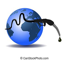 Earth and refueling hose, abstract design