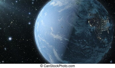 Earth and satellite antennas - Planet Earth with satellite...