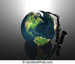 earth and saxaphone creative background