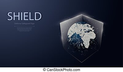 Earth and shield icon.Protected guard shield security concept Security cyber digital Abstract technology background protect system innovation concept