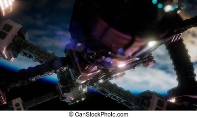 Earth and Spacecraft. space ship over the earth - Earth and...