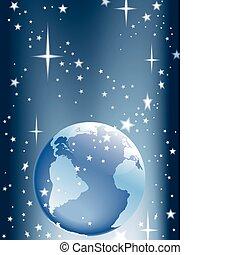 Earth and stars - Globe and shining stars, vector...