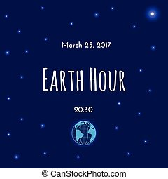 Earth and stars on dark blue background.