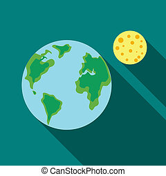 Earth and the Moon icon, flat style
