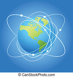 Earth and trajectories of satellite