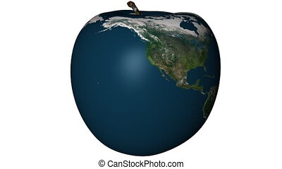 Earth Apple - Apple with an earth texture applied. ...