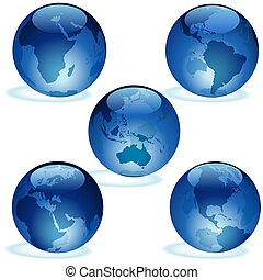 Earth Aqua Set - Highly detailed blue glass globe...