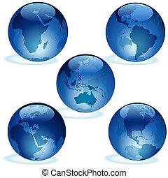 Earth Aqua Set - Highly detailed blue glass globe...