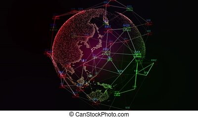 Earth. Around Globe background with stock market digits. Financial concept. Stock market data on display. 4K Digital animation