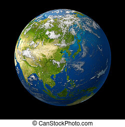 Earth model planet featuring the continent of Asia including China Japan Korea and India surrounded by blue ocean and clouds on black
