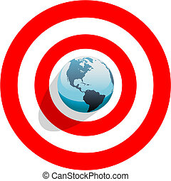 Blue Earth at the center of a bulls eye on a red world target.