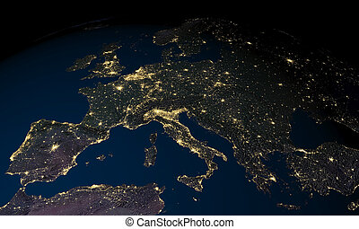 Earth at night over Europe