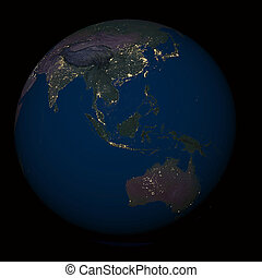 Earth at night over Indonesia