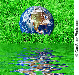 Earth at the green grass