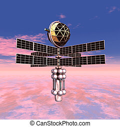 Earth Atmosphere with Space Probe - Computer generated 3D...