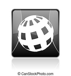 earth black square web glossy icon