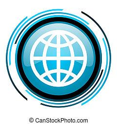 earth blue circle glossy icon