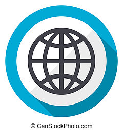 Earth blue flat design web icon