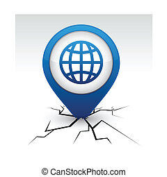 Earth blue icon in crack.