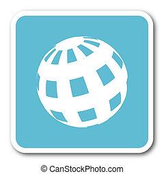 earth blue square internet flat design icon