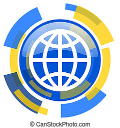 earth blue yellow glossy web icon