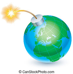 Earth bomb concept. - Cartoon bomb in the form of Earth,...