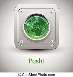 """earth"""", botão, vetorial, """"save"""