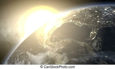 Earth Bright Sunrise (60fps) - Earth rotates from day to...