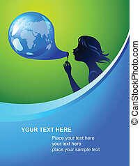 Earth bubble template - Background with silhouette of a...