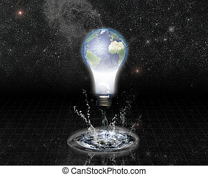 Earth bulb and Splash with Stars