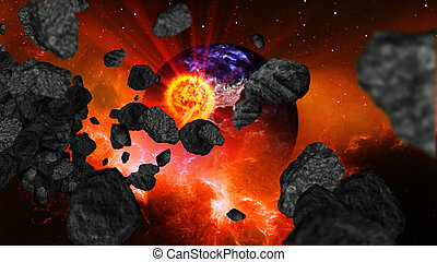 Earth burning or exploding