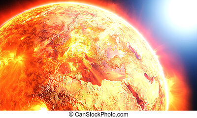 Earth burning or exploding.
