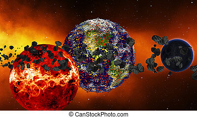 Earth burning or exploding after a global disaster,...