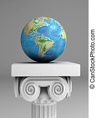 Earth care - Earth globe on ancient column - 3d render